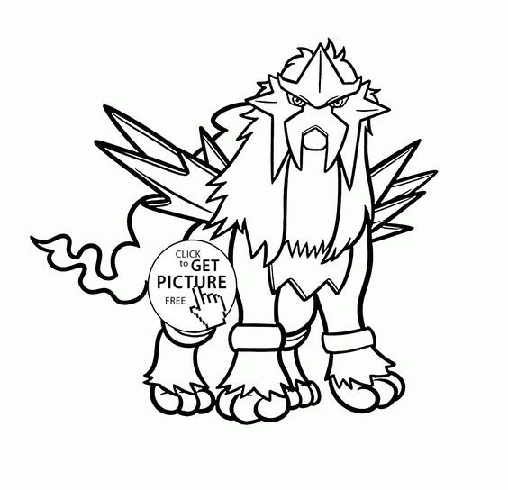 Legendary Pokemon Entei Coloring Pages For Kids Characters Printables Free