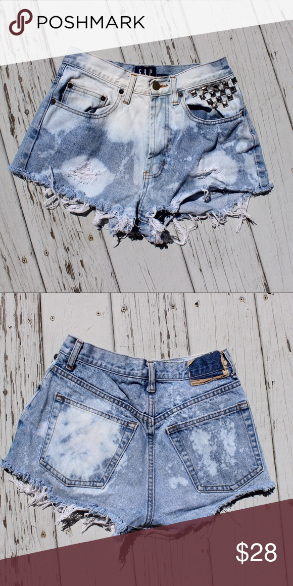 Vintage Gap Studded High Waisted Shorts Super trendy bleached and distressed high waisted jean shorts! Fits like 2-4 GAP Shorts Jean Shorts