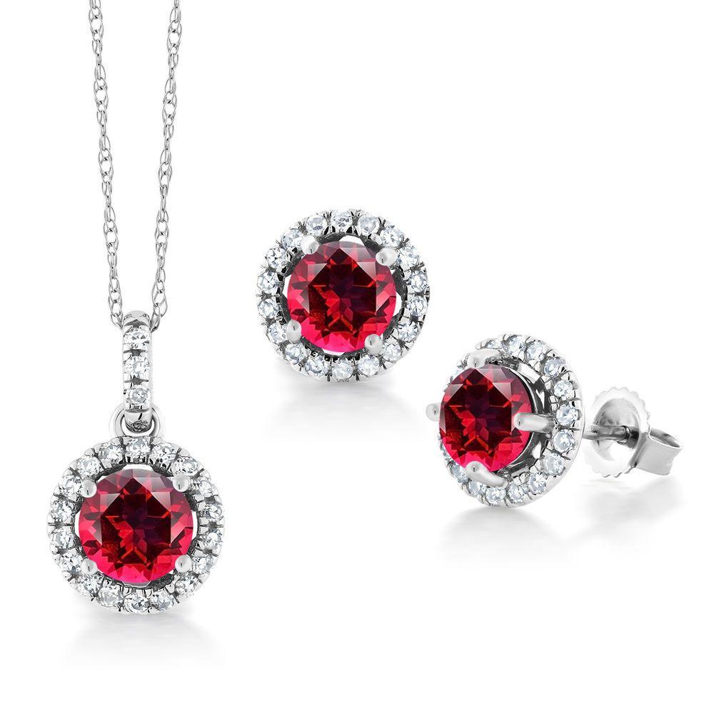 K white gold pendant earrings diamond set u set with red topaz