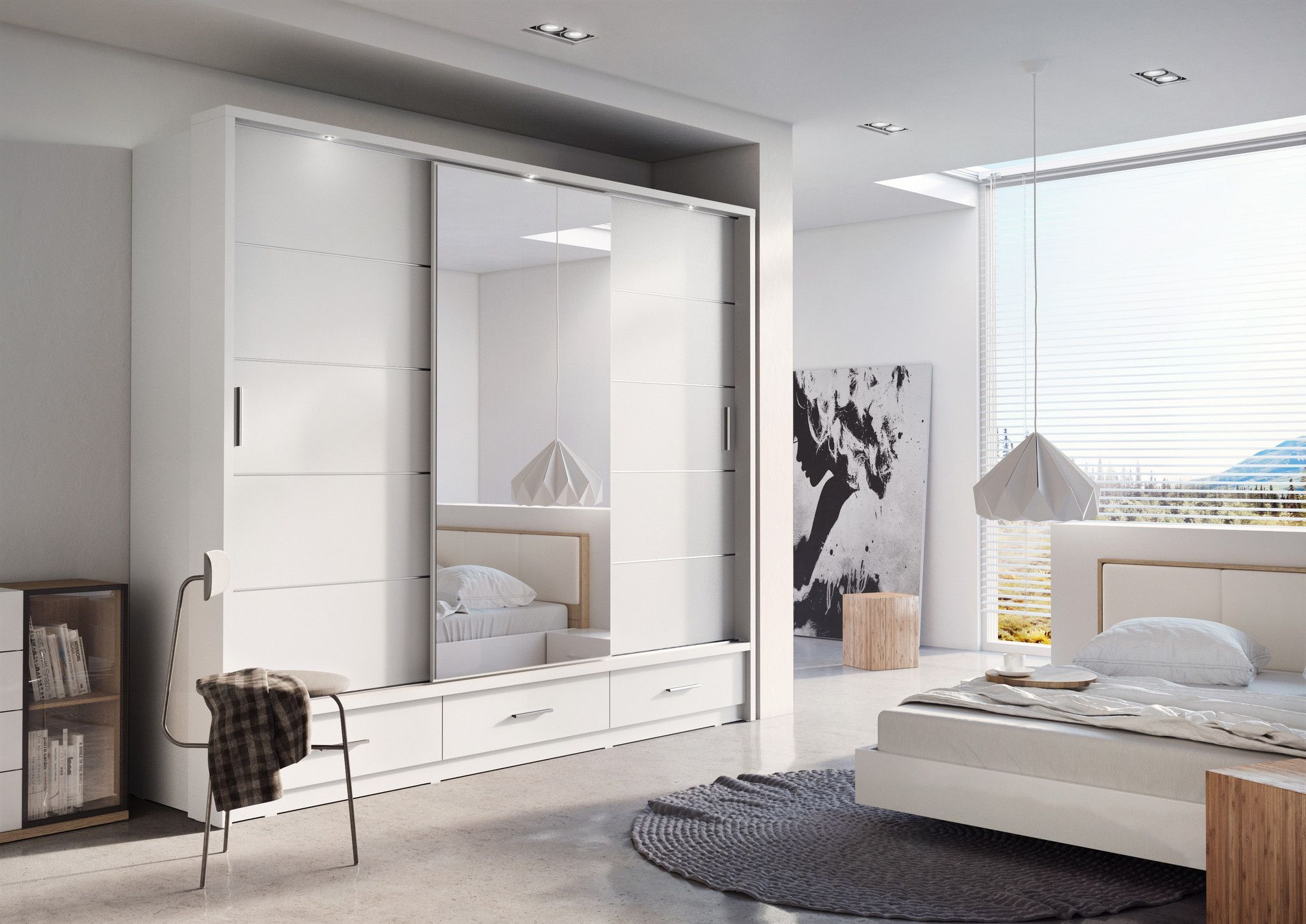 Arti 1 White 3 Sliding Door Wardrobe 250Cm Modern Bedroom