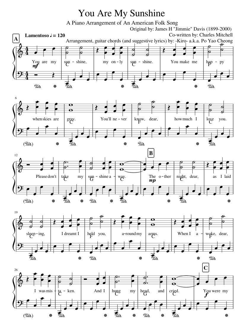 You Are My Sunshine Sheet Music For Piano Musescore Piano
