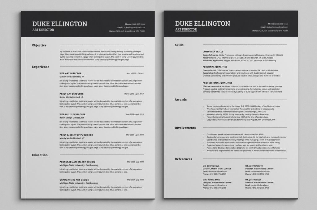 Two Pages Classic Resume CV Template | Resume Templates ...