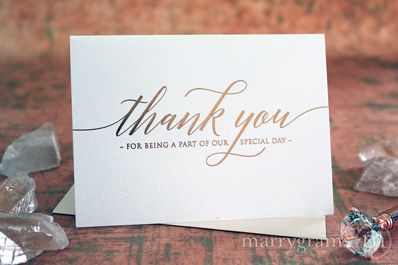 rose gold foil wedding thank you note card set thanks for