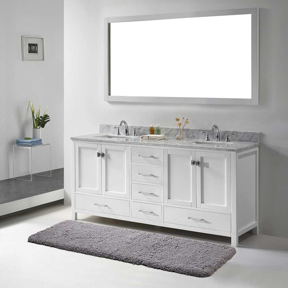Tapis De Bain Ultradoux En Microfibre Lux 20x64 Gris White Vanity Bathroom Bathroom Vanity Beauty Room Vanity [ 1000 x 1000 Pixel ]