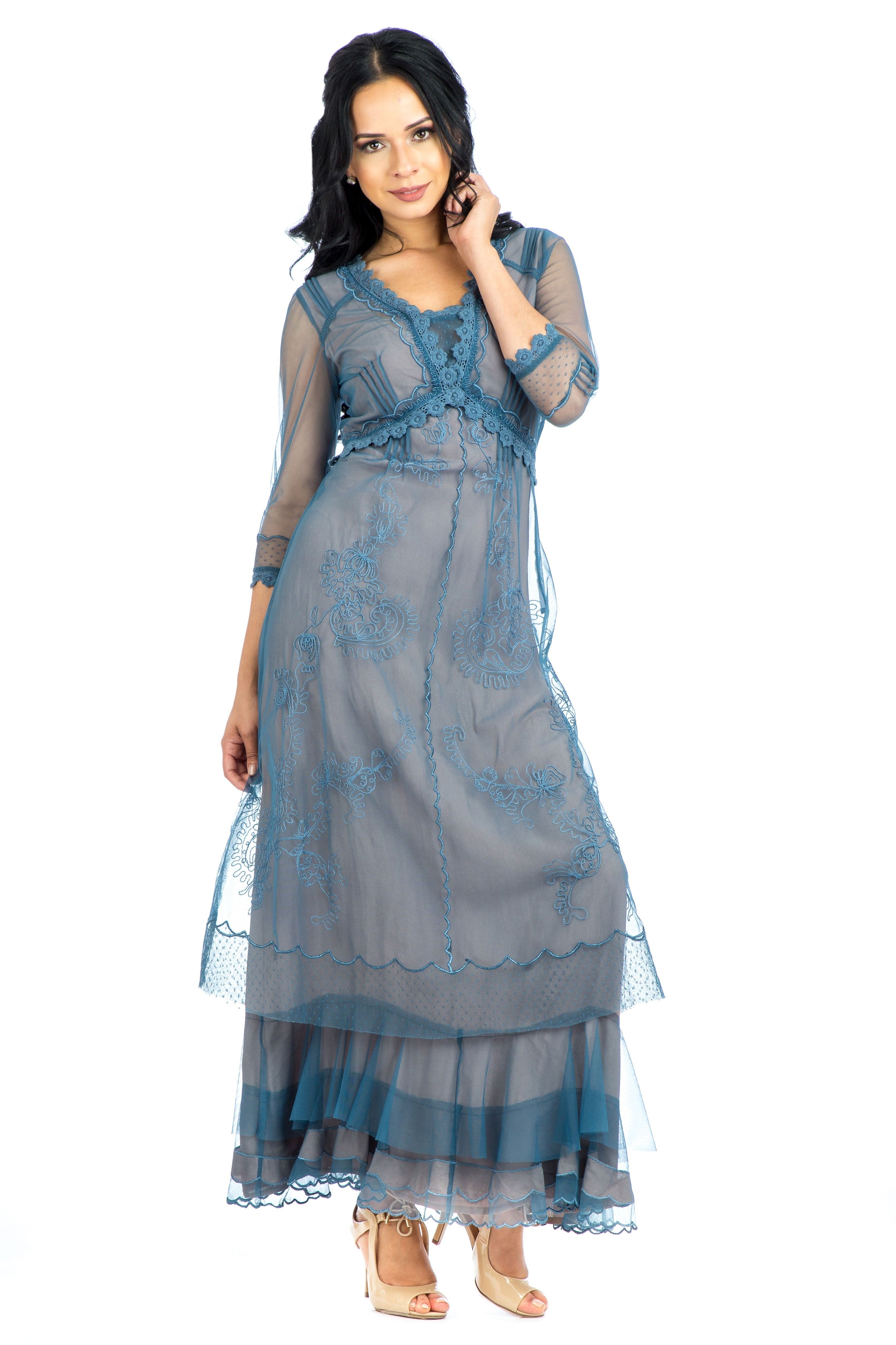 Audrey Vintage Style Party Gown in Azure by Nataya   Party gowns ...