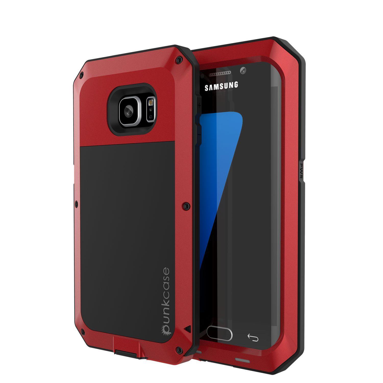 Galaxy S7 EDGE Case PUNKcase Metallic Red Shockproof Slim Metal Armor Case