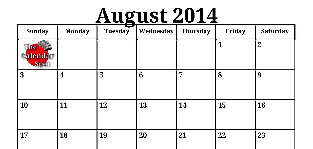 August Calendar 2014 : August calendar printable calendars