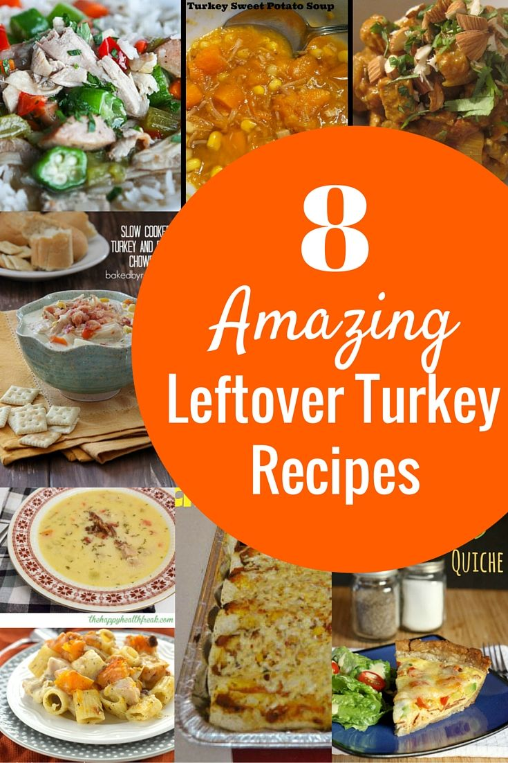 Wondering what to do with all that leftover turkey?  This is a great roundup of 8 awesome leftover turkey recipes that go beyond a sandwich.  Can't wait to make these the weekend after Thanksgiving!