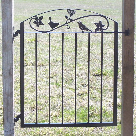 Metal Art Iron Garden Gate With Birds And Flowers More