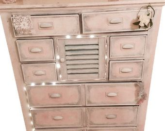 Farmhouse Dresser Shabby Chic Chest Of Drawers Reclaimed Wood Armoire 9 Drawer 1 Cabinet Fairy Light Decor Pink Whitewashed Buffet