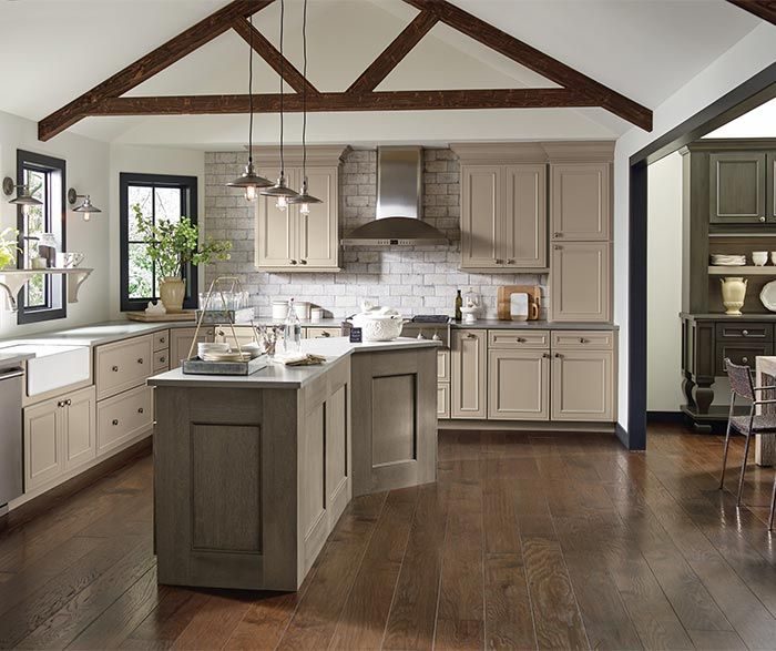 Long Kitchen Cupboards: These Taupe Kitchen Cabinets Are Shown With Perimeter