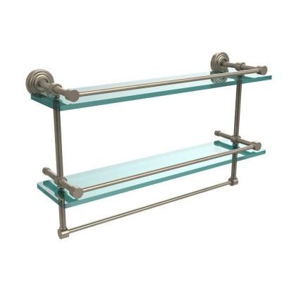 Photo of Allied Brass 22 inch L x 12 inch H x 5 inch W 2-tier gallery clear glass bathroom shelf with towel rail made of antique tin-WP-2 TB / 22-GAL-PEW – The Home Depot