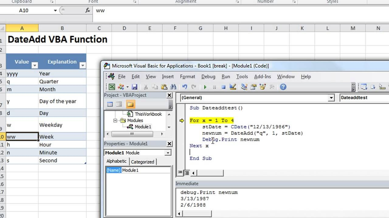 Excel Vba Basics 23 Dateadd Add Or Subtract Minutes Months