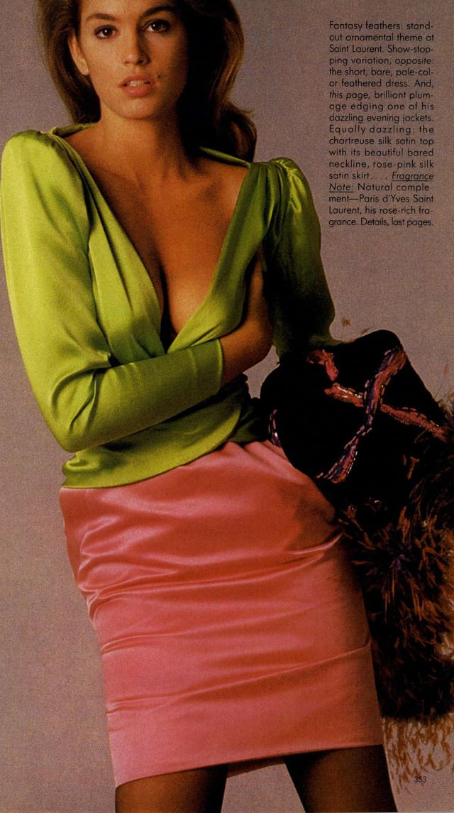 Vogue Editorial Ooh Paris Exclamation Points November 1987 Cindy In Ysl Couture Fashion Vogue Editorial Editorial Fashion