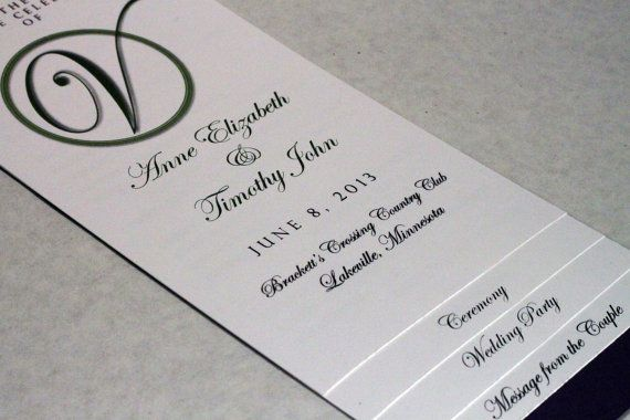 Diy  Layered Wedding Program Template  Circle Initial Design  W