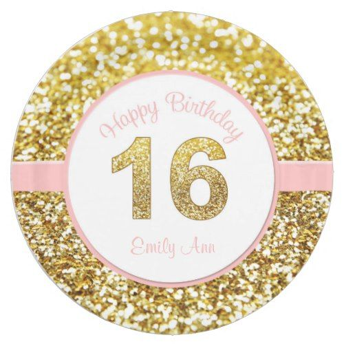 Pink and gold 16th birthday plates | Zazzle.com