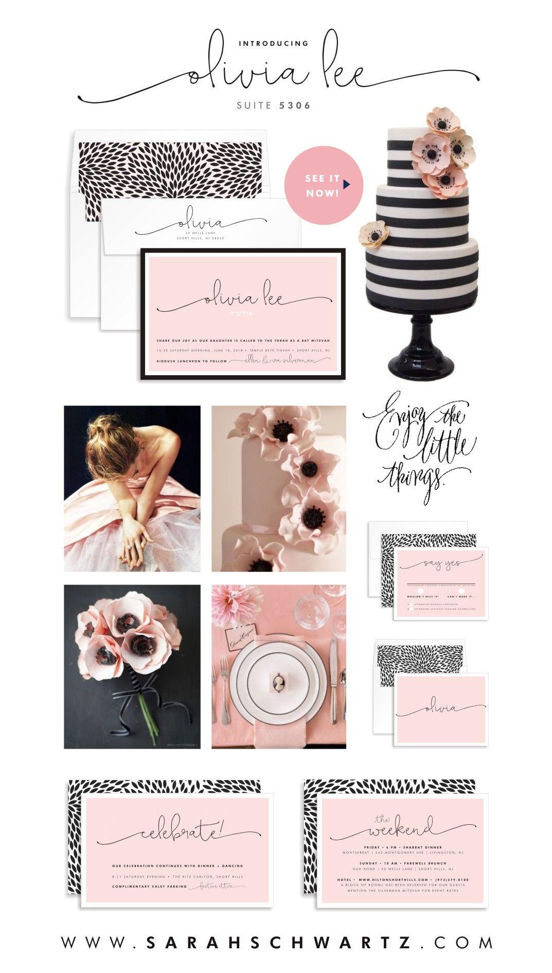 gorgeous new handwritten bat mitzvah invitation in pink and black + white from sarah schwartz mitzvah paper co | www.sarahschwartz.com/blog