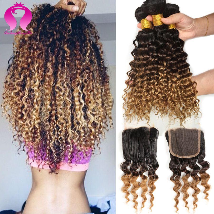 Brazilian Deep Wave With Closure 3 Bundle Rosa Hair Products With Closure Ombre Brazilian Virgin Hai Brazilian Curly Hair Ombre Hair Weave Brazilian Hair Weave