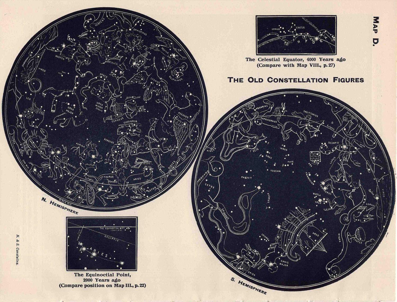Vintage Constellation Map Lithograph Original Vintage