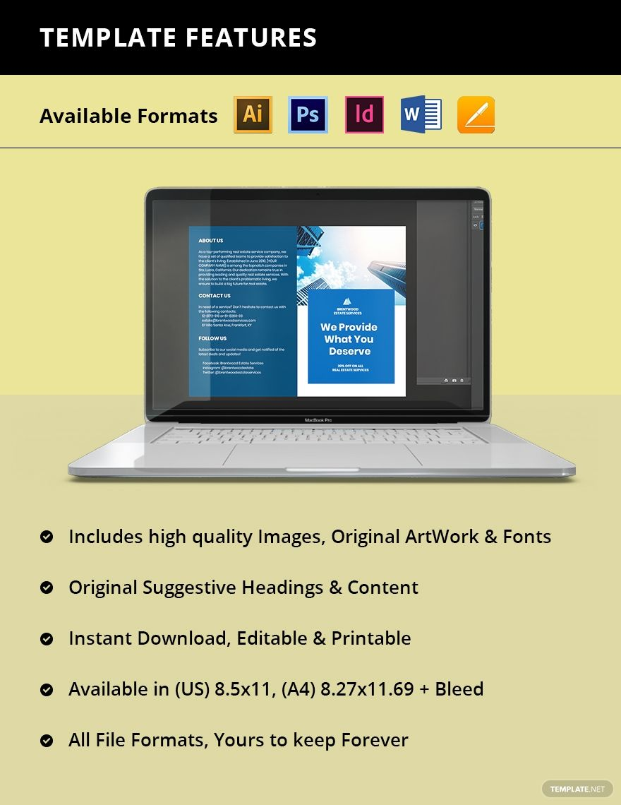 Free BiFold Real Estate Services Brochure Template in