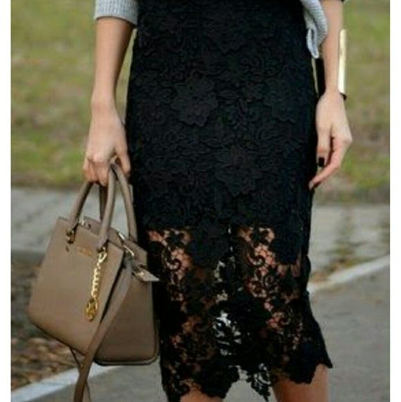 Flirty Lace skirt  Color: black Flirty Lace skirt  Color: black  Size:  S/M pants size 3-7  Dimensions laying flat: length 35  inch , waist 13 inch , hips 16 Inch stretchy waist  Condition : new with tags.  Brand : boutique brand (C-mode) No trades boutique  Skirts Pencil