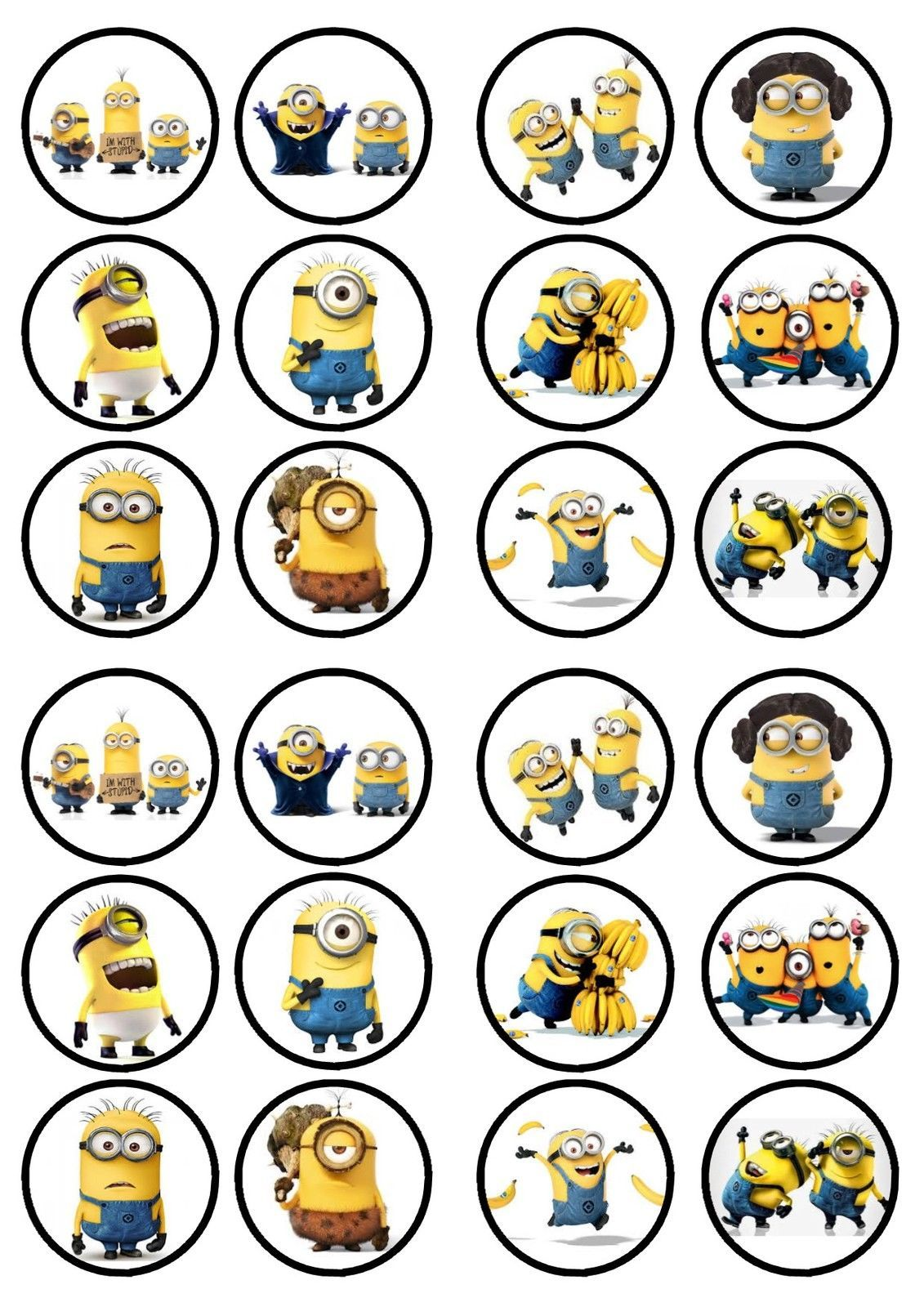 Minions Movie Edible Premium Sweetened Wafer Paper Cupcake Toppers In Crafts Cake Decorating