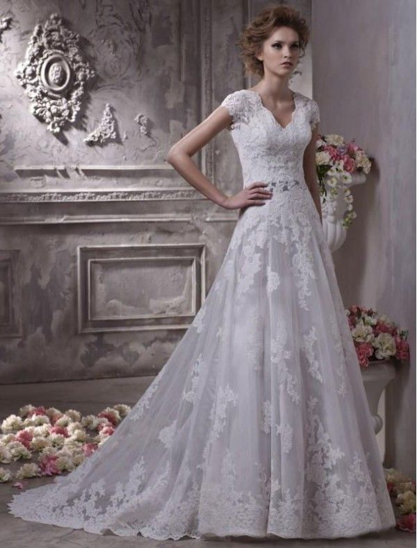 Lace VNeckline ALine Wedding Dress with Short Sleeves Wedding
