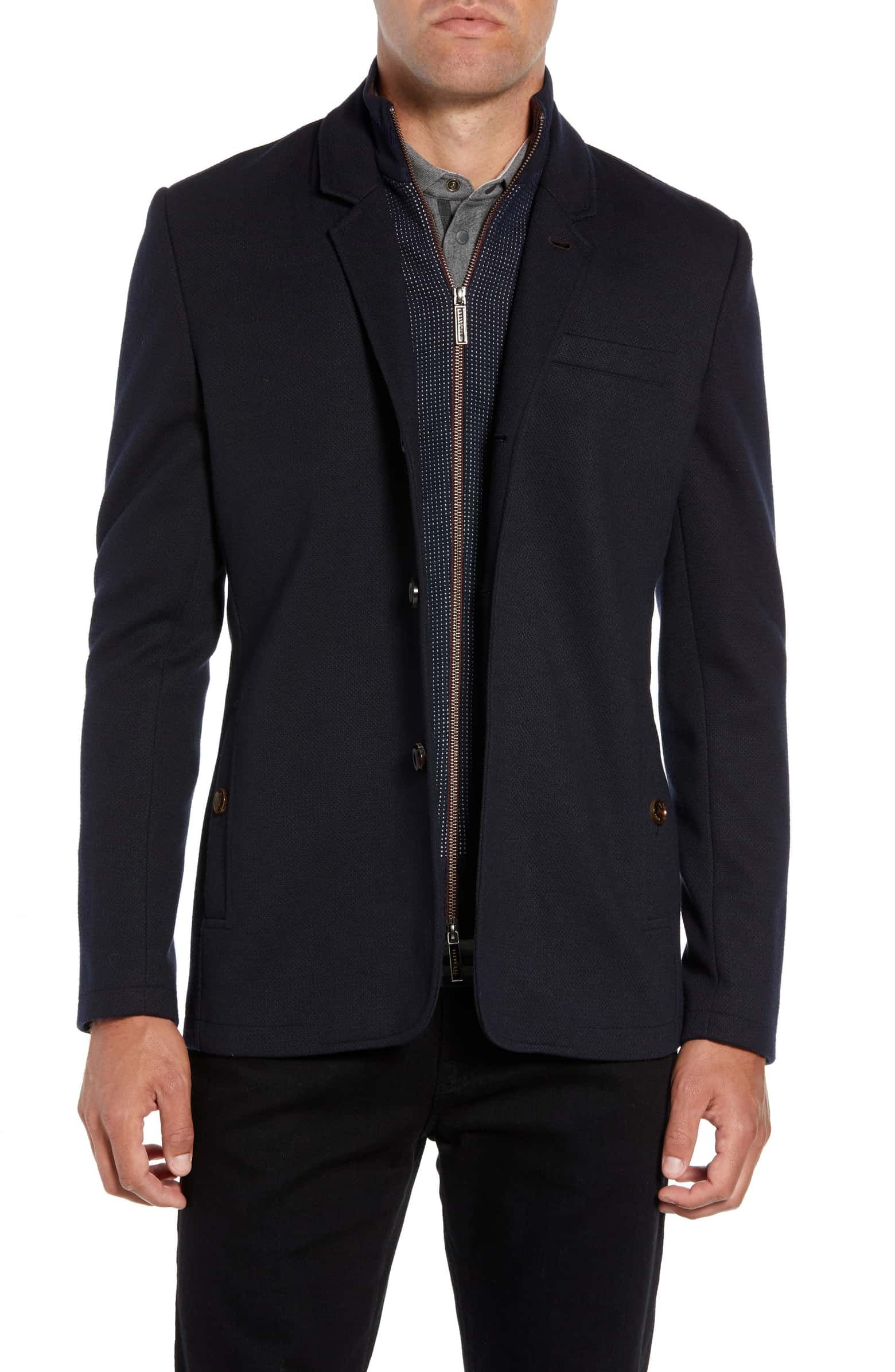 Almond Slim Fit Jersey Sport Coat, Main, color, NAVY