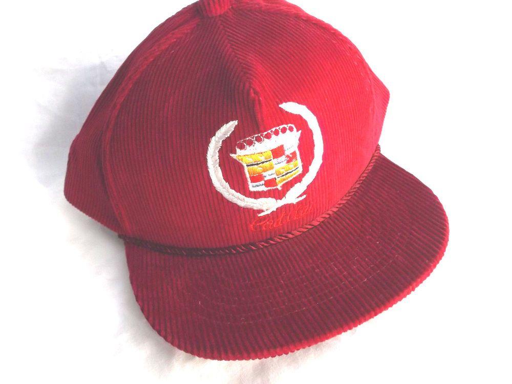 Vintage Embroidery 1 Size Fits All Cadillac Corduroy Baseball Cap! Dark Red   Cadillac  BaseballCap c2fac1b20f2b