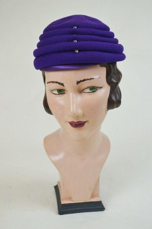 1940s Hat, Purple Felt Tiered with Diamante Detail | Mela Mela Vintage