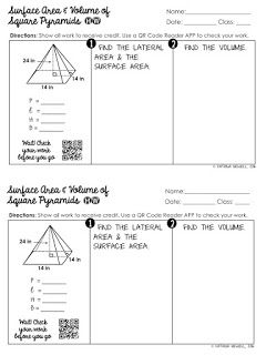Free Surface Area Of Square Pyramids Practice Worksheet Geometry
