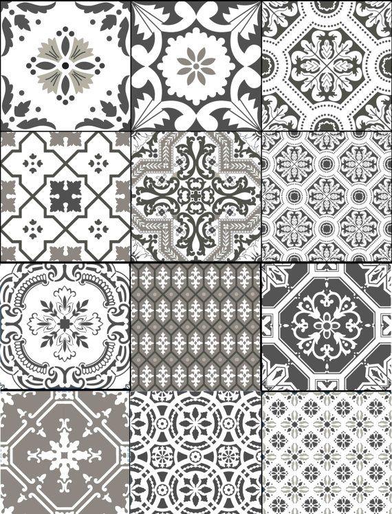 Kitchen Bathroom Stair Risers Tile Decals Vinyl Sticker Portugal Patchwork Pmix5 Earthgrey In 2020 Tile Stickers Kitchen Tile Decals Kitchens Bathrooms