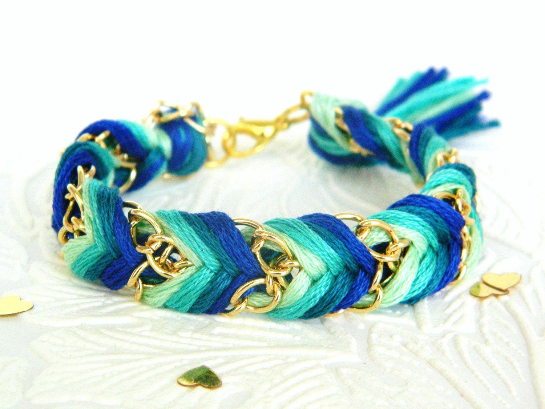 Emerald Peacock - Mint, Sea Green, Rich Turquoise, & Royal Blue - Chevron Braided Modern Friendship Bracelet - Gold Chain. $13.00, via Etsy.