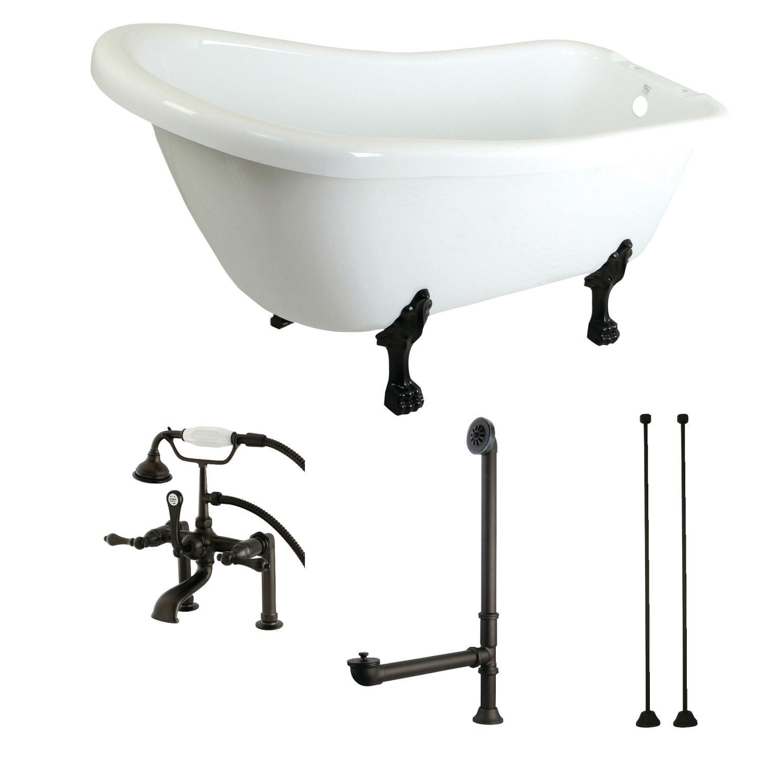 Aqua Eden 67 Inch Acrylic Clawfoot Tub With Faucet Drain And Supply