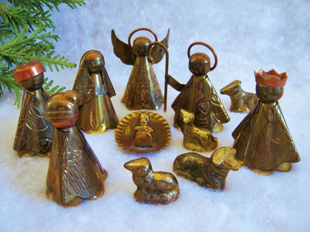 Vintage Brass Copper Christmas Nativity Scene Set Figurines - Hipster nativity set reimagines the birth of jesus in 2016