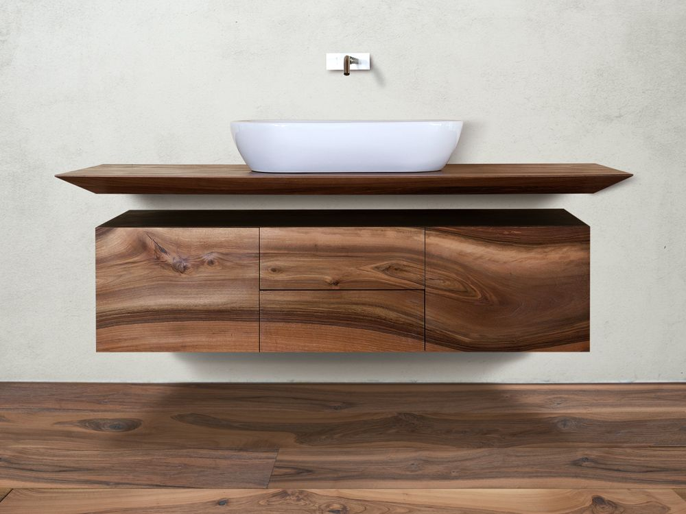 Suspended walnut bathroom cabinet cp lab design collection for Meuble pour collection