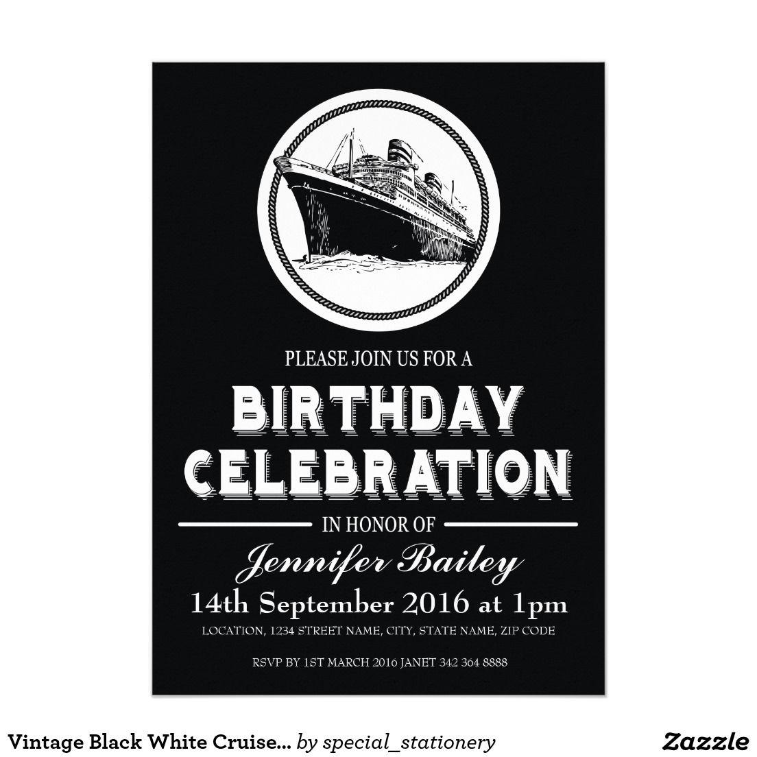 Vintage black white cruise ship birthday invitation card vintage black white cruise ship birthday invitation card vintagebirthdayinvites cruisebirthday blacktiebirthday filmwisefo Image collections
