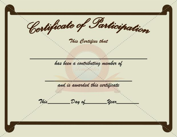Participation Certificate Template  Certificate Of Participation Template