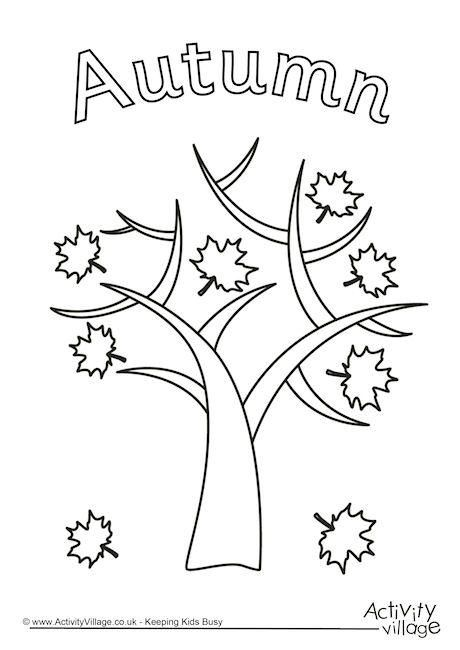 autumn tree colouring page