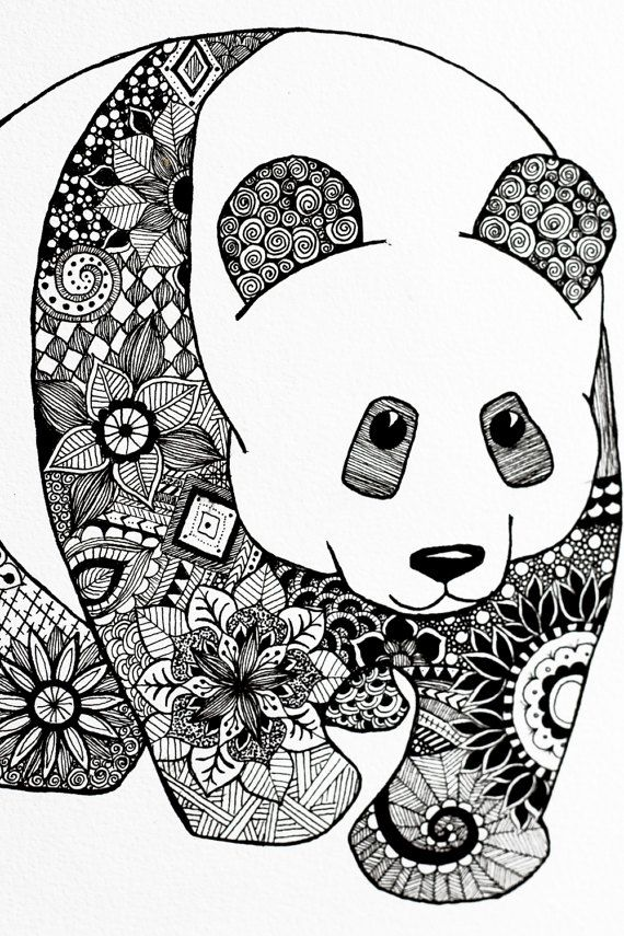 A one of a kind artwork of a panda in mandala pattern it is signed dated as well artwork - Coloriage panda roux mandala ...
