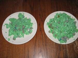 Green eggs and ham. Green food coloring added to ham and eggs. It tastes delicious. We read Green Eggs and Ham. Anything to add green to our St. Patrick's Day celebration. #greeneggsandhamrecipe