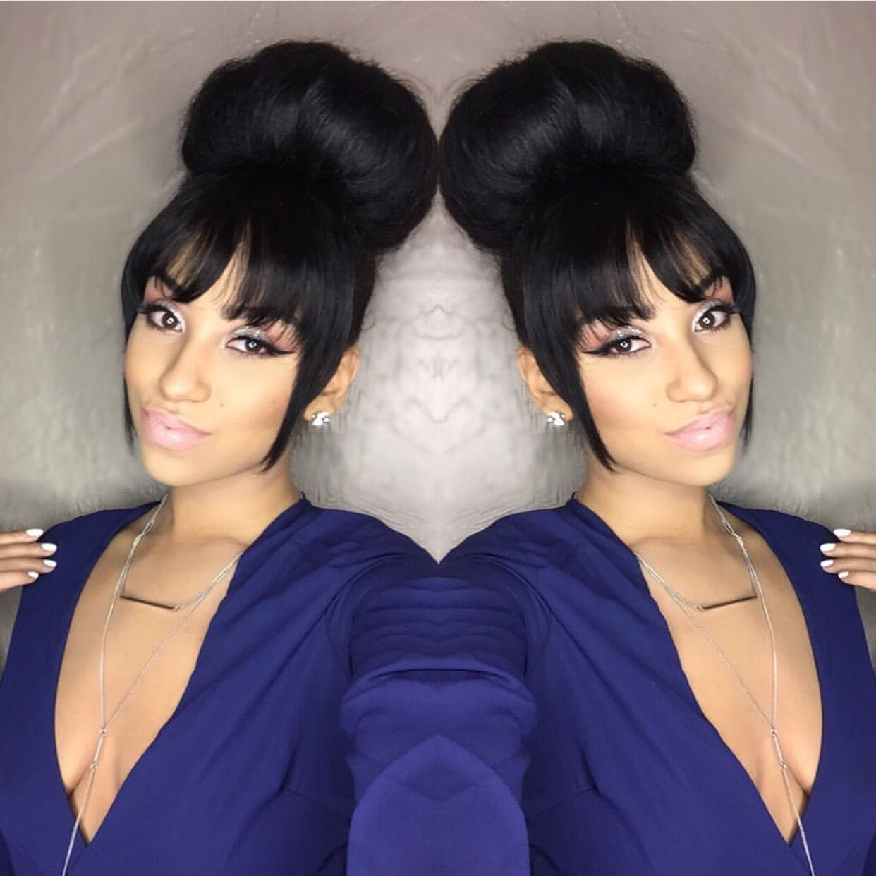 Bun X Bangs Natural Hair Styles Short Hair Styles Ponytail Hairstyles