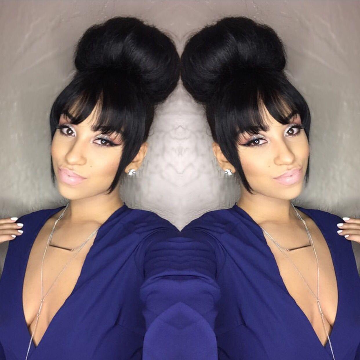 bun x bangs | mane attraction | pinterest | bangs, hair style and