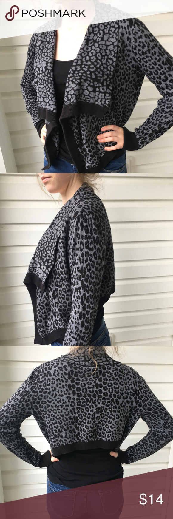 Express Leopard Print Cropped Cardigan - Size M | Leopards
