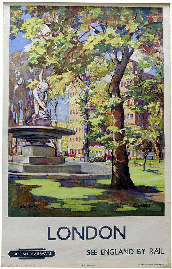 Old Travel Poster reproduction Hyde Park