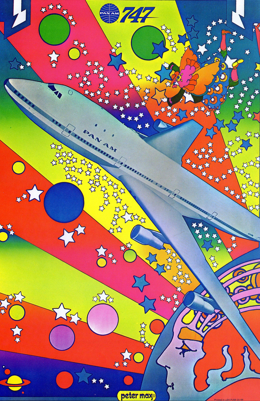 Peter max pan am 747 poster vintage 1970 pop art print jet