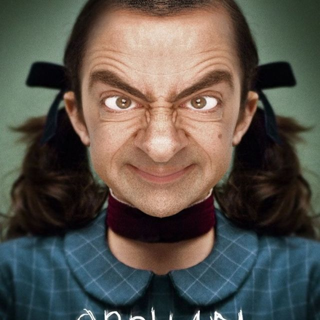 mr beans face on quotorphanquot movie poster funny shit