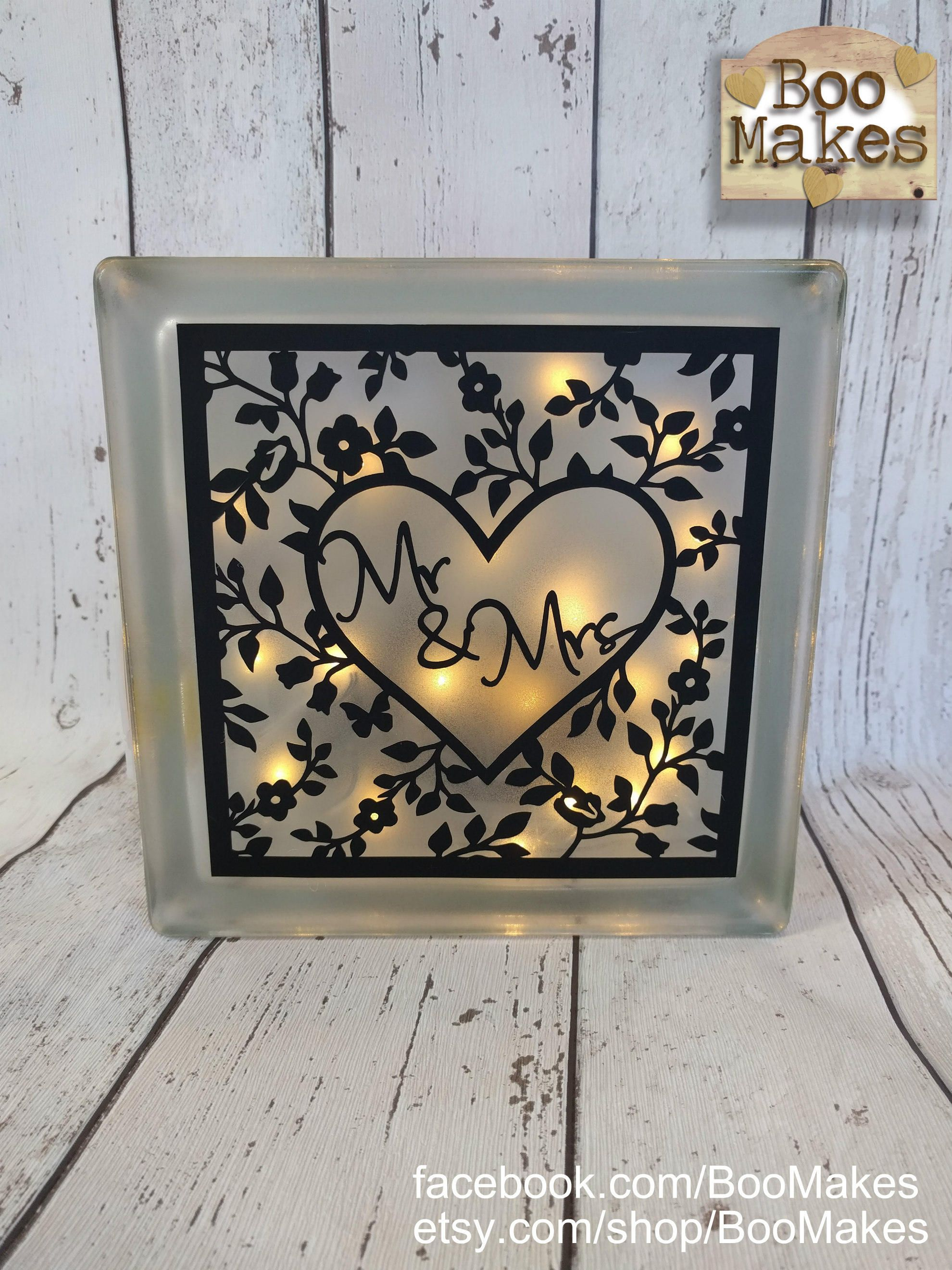 Mr Mrs Gl Light Block Decoration Perfect Wedding Or Anniversary Present Idea Gift Unusual By Boomakes On Etsy
