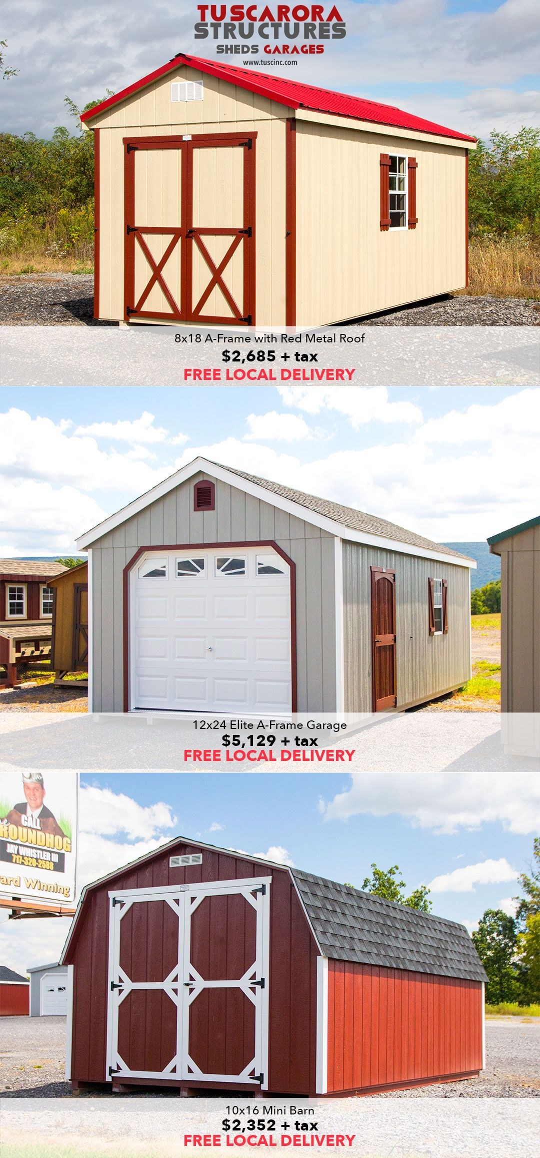Storage Sheds and Garages in-stock at our Mifflintown, PA sales lot