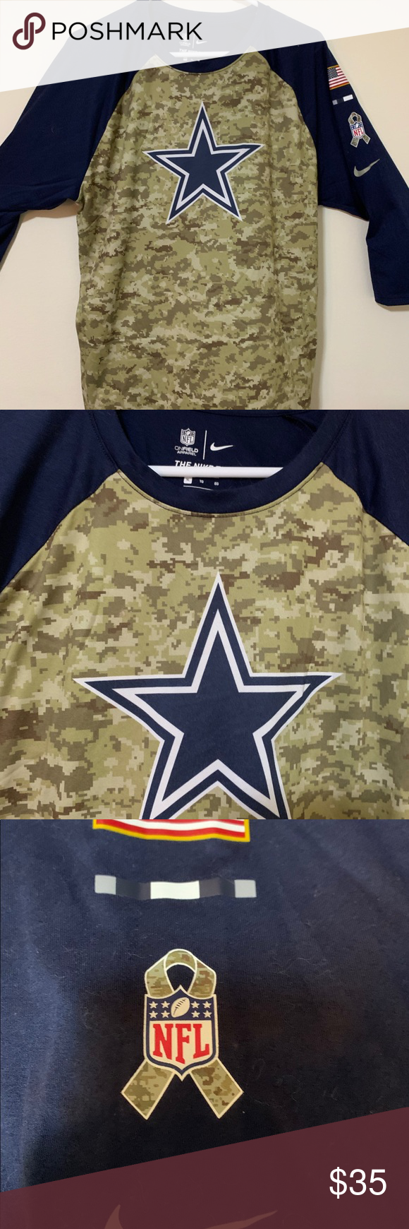 Nike Dallas Cowboys Salute To Service 3/4 Sleeve Never worn Cowboys Salute To Service 3/4 Sleeve Nike Shirts Tees - Long Sleeve #salutetoservice Nike Dallas Cowboys Salute To Service 3/4 Sleeve Never worn Cowboys Salute To Service 3/4 Sleeve Nike Shirts Tees - Long Sleeve #salutetoservice